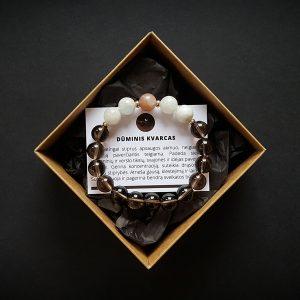 Dūminio kvarco, mėnulio akmens ir saulės akmens apyrankė dvi-jewelry apyrankės