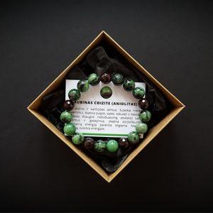 Rubino coizite (aniolito) ir granato apyrankė dvi-jewelry apyrankės