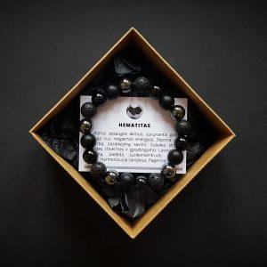 Hematito, lavos, juodojo turmalino ir šungito apyrankė dvi-jewelry apyrankės