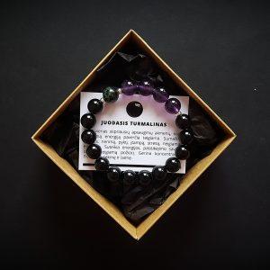 Rubino coizite (aniolito), ametisto ir juodojo turmalino apyrankė dvi-jewelry apyrankės