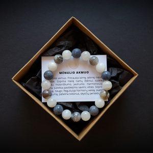 Mėlynojo koralo, Botsvanos agato ir mėnulio akmens apyrankė dvi-jewelry apyrankės