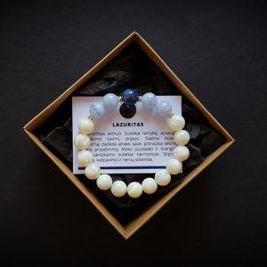 Lazurito, mėlynojo juostuotojo agato ir perlamutro apyrankė dvi-jewelry apyrankės
