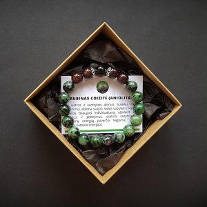 Rubino coizite (aniolito), granato ir onikso apyrankė