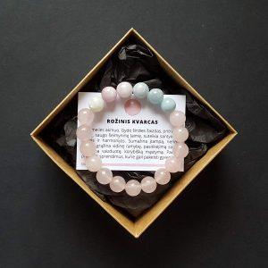 Rožinio kvarco, akvamarino, kuncito ir mėnulio akmens apyrankė