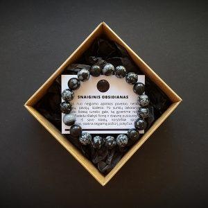 Snaiginio obsidiano apyrankė dvi-jewelry apyrankės
