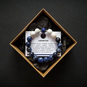 Lazurito, sodalito ir hovlito apyrankė dvi-jewelry apyrankės
