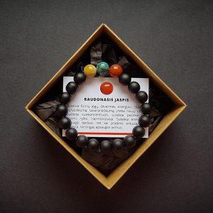 Nėriniuoto agato, chrizokolos, raudonojo jaspio ir šungito apyrankė dvi-jewelry apyrankės
