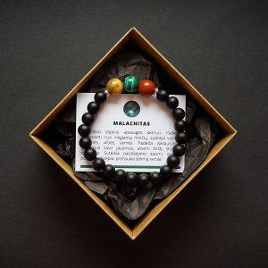 Nėriniuoto agato, malachito, raudonojo jaspio ir šungito apyrankė su detalėmis dvi-jewelry apyrankės