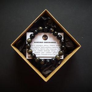 Auksinio obsidiano apyrankė dvi-jewelry apyrankės