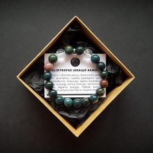 Heliotropo ir kalnų krištolo apyrankė dvi-jewelry apyrankės