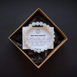 Baltojo agato apyrankė 8 mm dvi-jewelry apyrankės